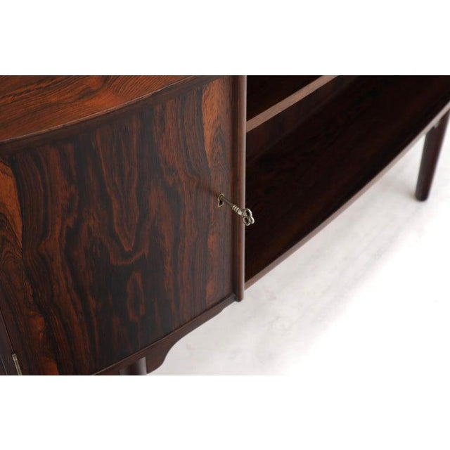Half Oval Shape Danish Mid-Century Modern Rosewood Desk With Bookcase For Sale - Image 12 of 13