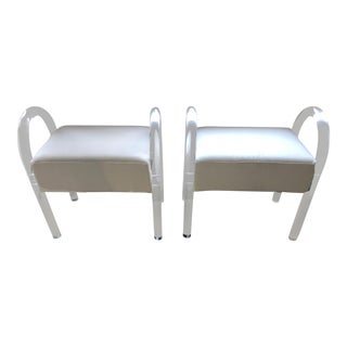 Vintage Modern White Velvet Upholstered Lucite Stools - a Pair For Sale