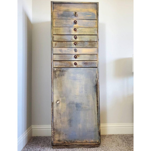 Gray Early 20th Century Industrial Distressed Painted Chest For Sale - Image 8 of 11