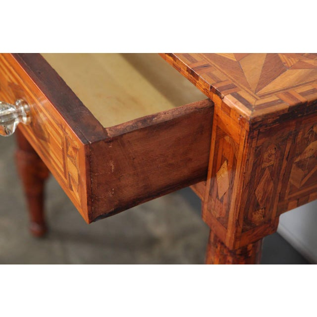 Brown Folk Art Parquetry Side Table For Sale - Image 8 of 8