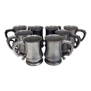Vintage English Pewter Mugs - Set of 8 For Sale