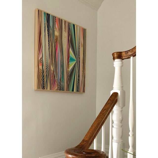 Hard-Edged Abstract Architectural Original Acrylic on Wood Painting For Sale - Image 4 of 6
