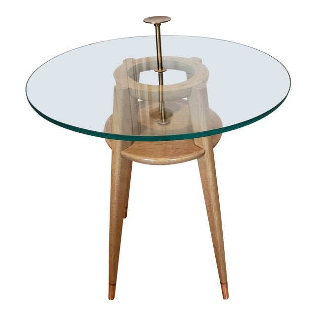 """1960s Mid Century Modern Brass Cocktail """"Cigarette"""" Table For Sale"""