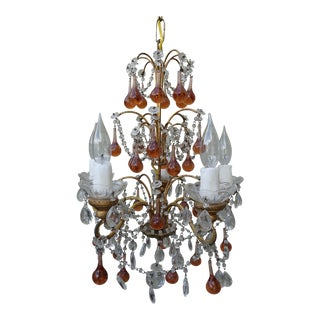 Six-Light Amber Colored Macaroni Beaded Chandelier For Sale