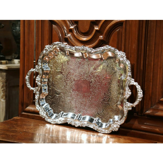 French Early 20th Century French Silver Plated Tray With Ornate Scrolls and Engravings For Sale - Image 3 of 9