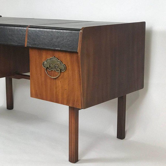 Bert England for John Widdicomb Leather Top Walnut Stilted Desk With Brass Pulls For Sale In New York - Image 6 of 12