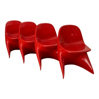 1970s Space Age Casala Casalino Red Stacking Child's Chairs - Set of 4 For Sale