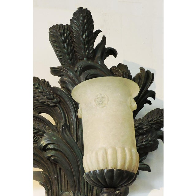 Pair of Bronze Wheat Sheaf Sconces With Murano Glass Lamps For Sale In San Francisco - Image 6 of 8