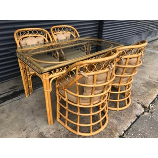 20th Century Boho Chic Rattan Dining Set - 5 Pieces Preview