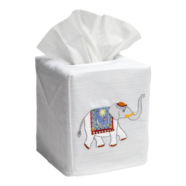 Blue Elephant Tissue Box Cover in White Linen & Cotton, Embroidered For Sale