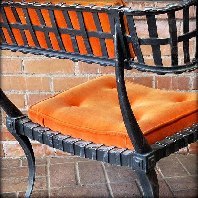 1960s 1960s Vintage Klismos-Style Thinline Lounge Chair and Ottoman with Original Finish & Orange Upholstery For Sale - Image 5 of 13