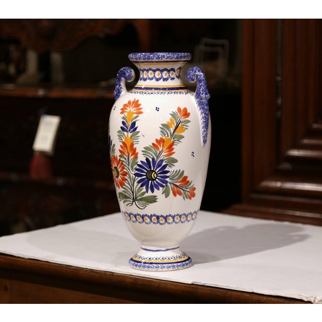 Early 20th Century Tall Early 20th Century French Hand-Painted Faience Vase Signed Henriot Quimper For Sale - Image 5 of 9