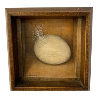 Mid 20th Century Eggs and Feathers Trompe L'oeil Still Life Oil Painting by Doris Wokura, Framed For Sale