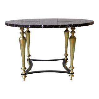 French 1940s Coffee Table With Grey Marble For Sale