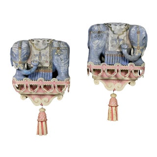 Pair of Chinese Painted Wood Elephants on Brackets For Sale