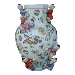 Chinoiserie Pale Celadon Floral Vase For Sale