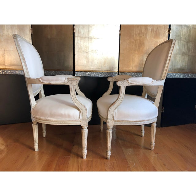 Early 19th Century Antique French Louis XVI Fauteuil Arm Chairs - a Pair For Sale - Image 5 of 10