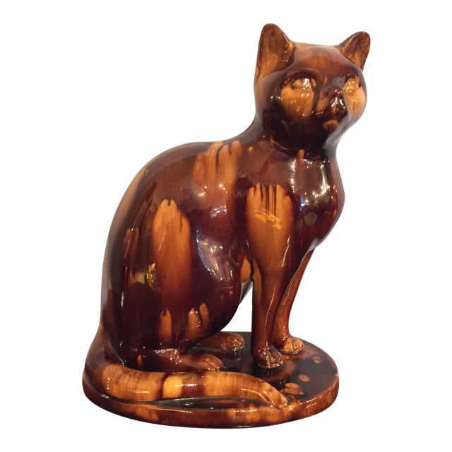 English Treacleware Cat Figure For Sale