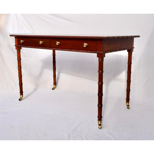 2010s Regency Faux Bamboo Writing Desk For Sale - Image 5 of 11