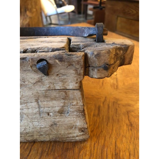 Folk Art Wood Carved Handbag/Purse With Hand Forged Hardware For Sale In Seattle - Image 6 of 8