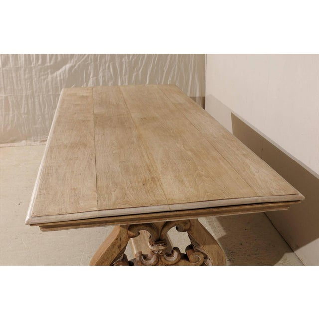 Wood 19th Century Italian Bleached Wood Dining Table With Lyre Shaped Base For Sale - Image 7 of 11