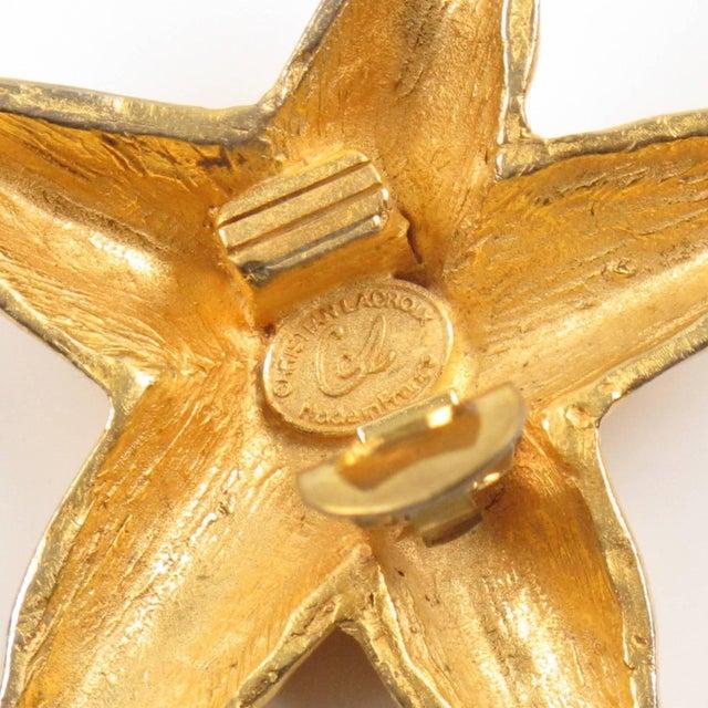 Christian Lacroix Christian Lacroix Paris Oversized Gilt Metal Starfish Clip on Earrings For Sale - Image 4 of 7