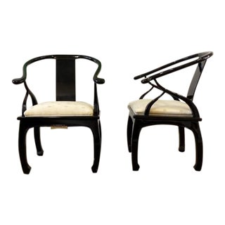 Hollywood Regency James Mont Style Bernhardt Ebony Lacquer Horseshoe Chairs- a Pair For Sale