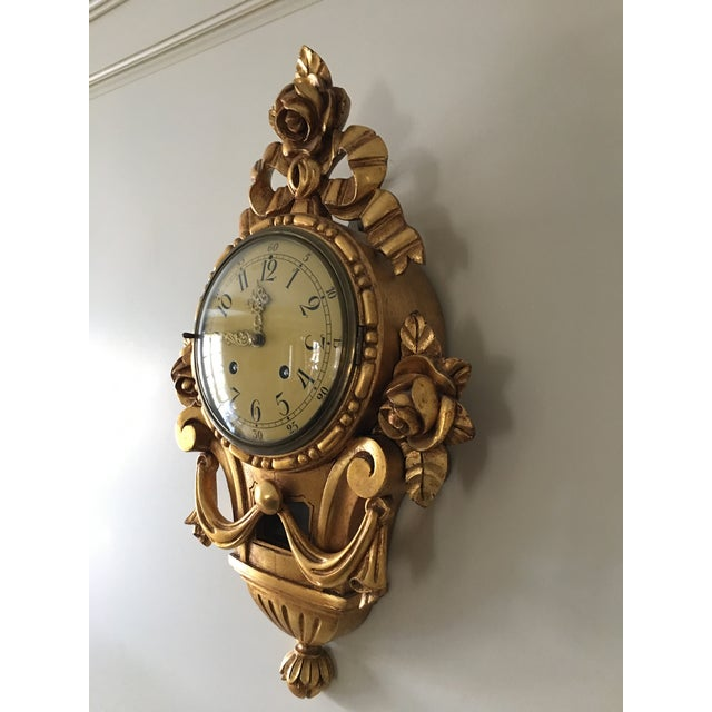 1940s 19th Century Craved Gold Leaf Wall Clock For Sale - Image 5 of 7
