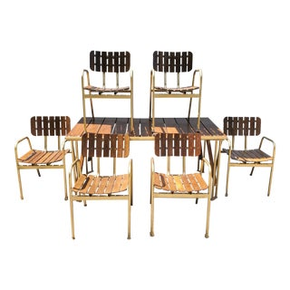 Troy Sunshade Co. Indoor/Outdoor Teak & Aluminum Chairs Dining Set For Sale