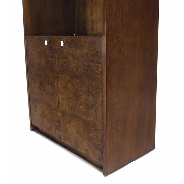 Mid-Century Modern Pair of Burl Walnut Wall Unit Pieces w/ Interior Lights For Sale - Image 3 of 6