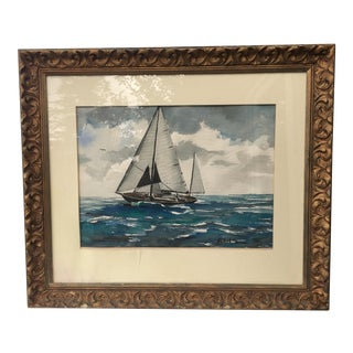 Vintage Sailing Schooner in Turquoise Ocean Watercolor Painting For Sale