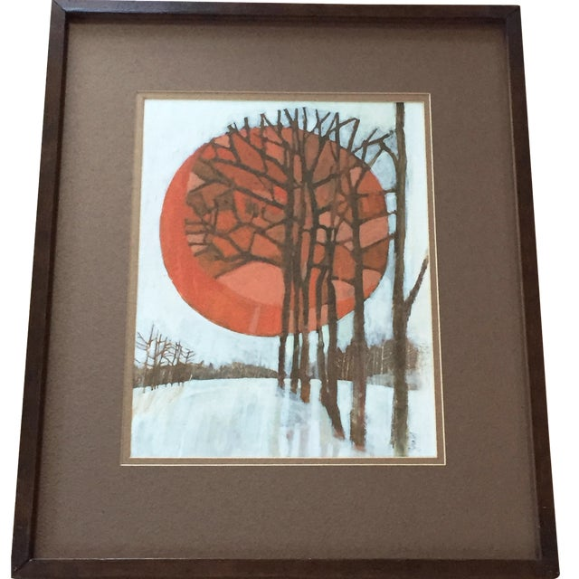 Vintage 1960's Oil Landscape Painting Winter Trees For Sale