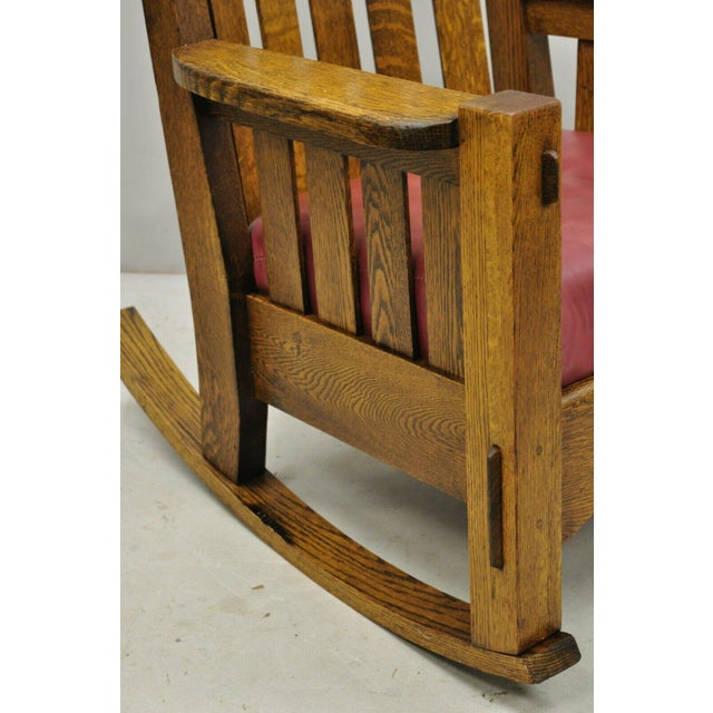Wood Early 20th Century Harden Mission Oak Arts & Crafts Stickley Style Rocking Chair Rocker Armchair For Sale - Image 7 of 13
