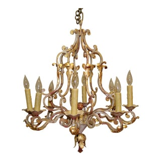 Antique French Country Iron Chandelier For Sale