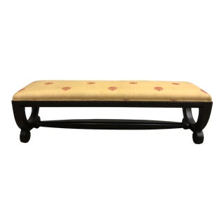 Late 20th Century Wood Carved Empire Style Bench For Sale