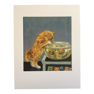 "Vintage Diana Thorne Cat Print ""Kitten and Fishbowl"" For Sale"