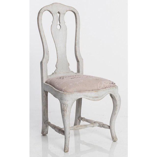 Mid-Century Modern Antique White Swedish Baroque Set of Six Dining Chairs For Sale - Image 3 of 7