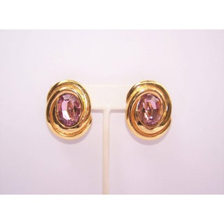 1980's Ciner Amethyst Rhinestone & Gold Tone Clip on Earrings Preview