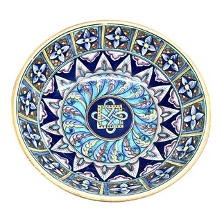 Italian Blue Cottura Ceramic Decorative Bowl For Sale