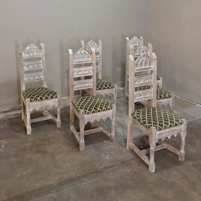 Wood Early 20th Century Antique Rustic Gothic Stripped Dining Chairs- Set of 6 For Sale - Image 7 of 12