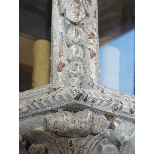 Antique White Italian Carved Wood Lantern For Sale - Image 8 of 9