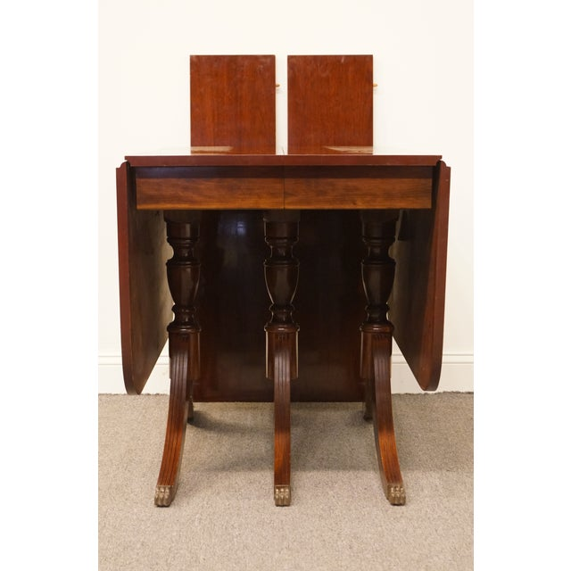 Duncan Phyfe Round Table With Drawer.20th Century Traditional Lyon Manufacturing Co Solid Cherry Duncan Phyfe Drop Leaf 84 Triple Pedestal Dining Table