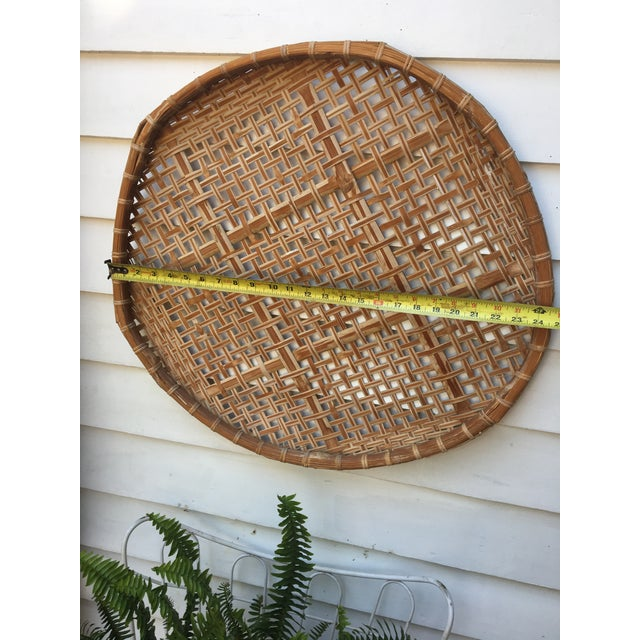 Giant Vintage Bamboo Winnowing Fish Drying Wall Basket - Image 6 of 7