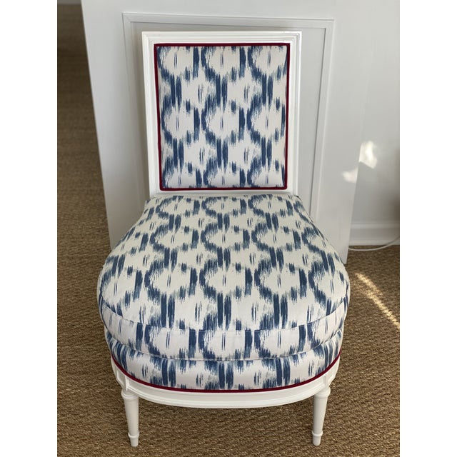 2010s Blue Ikat Slipper Chair For Sale - Image 5 of 5