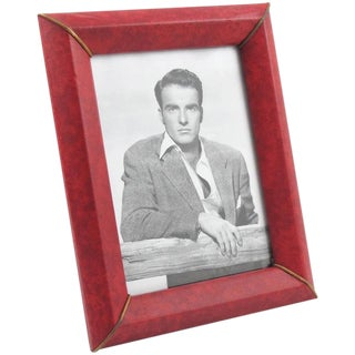 1960s Picture Photo Frame Faux Leather Pattern For Sale