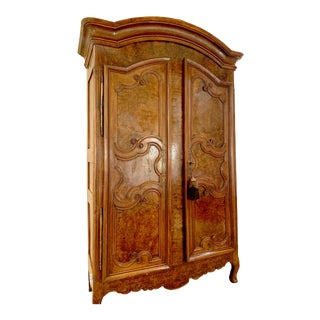 Antique 18th Century Burled Walnut Armoire For Sale