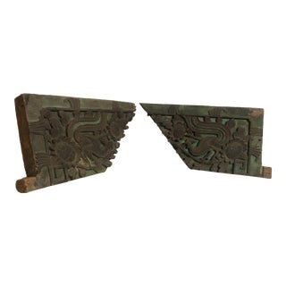 Vintage Mid Century Chinese Carved Antique Exterior Panels- A Pair For Sale