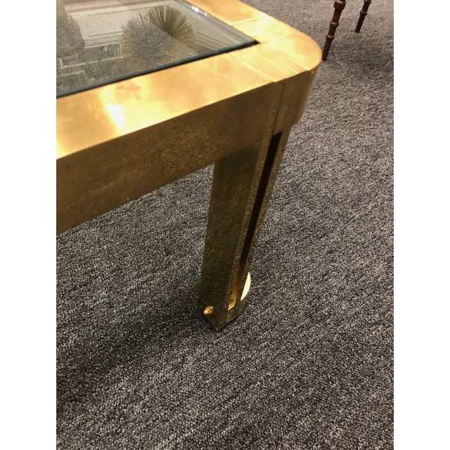 1970s 1970s Italian Brass Coffee Table With Great Design For Sale - Image 5 of 11