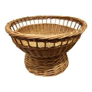 Rattan Footed Basket For Sale