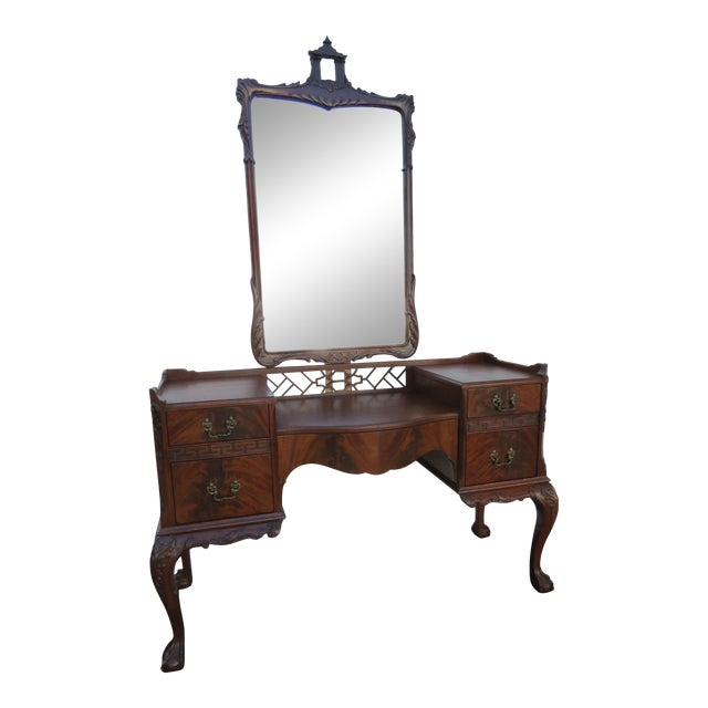 Chippendale Ball and Claw Feet Flame Mahogany Vanity Table and Mirror For Sale